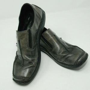 RIEKER gray leather distressed loafers Artisan